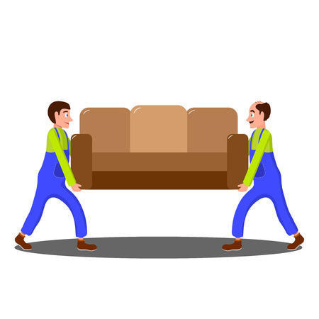Collective work when loading furniture. The loaders carry the sofa.