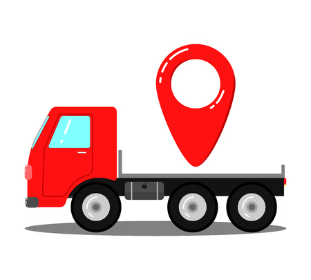 Truck for transportation of things. Transportation of goods to a point. Иллюстрация