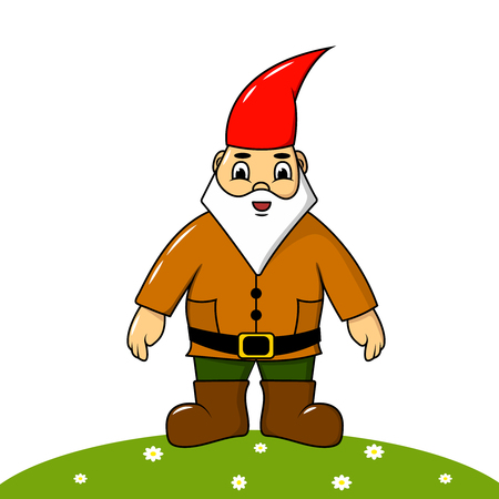 Cute, gay garden gnome. Ceramic character, children's illustration, vector. Standard-Bild - 123026990
