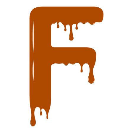 Vector set. Abc - festive alphabet. Chocolate splash. Holiday decoration element. Modern design. Chocolate letter - F.
