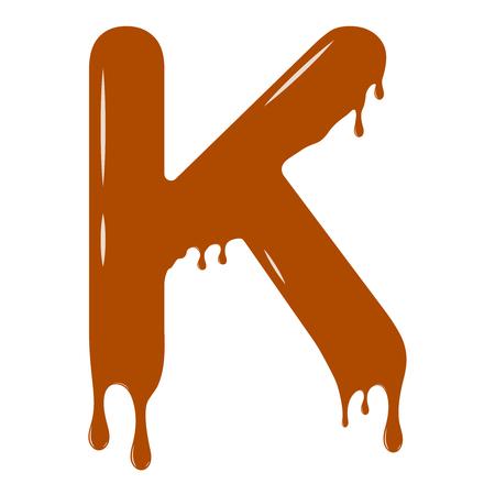 Vector set. Abc - festive alphabet. Chocolate splash. Holiday decoration element. Modern design. Chocolate letter - K. Illustration