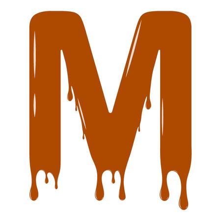Insieme di vettore. Abc - alfabeto festivo. Spruzzata di cioccolato. Elemento decorativo per le vacanze. Design moderno. Lettera di cioccolato - M.