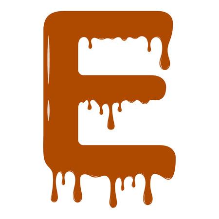 Vector set. Abc - festive alphabet. Chocolate splash. Holiday decoration element. Modern design. Chocolate letter - E.