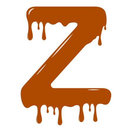 Vector set. Abc - festive alphabet. Chocolate splash. Holiday decoration element. Modern design. Chocolate letter - Z.