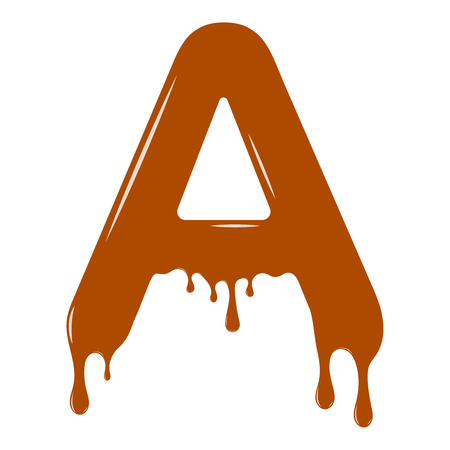 Vector set. Abc - festive alphabet. Chocolate splash. Holiday decoration element. Modern design. Chocolate letter - A. Illustration