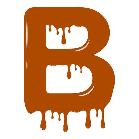 Vector set. Abc - festive alphabet. Chocolate splash. Holiday decoration element. Modern design. Chocolate letter - B.