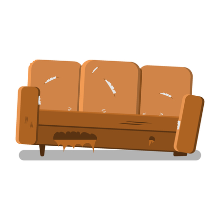 Design of upholstered furniture. Vector image of a new sofa. New clean furniture.