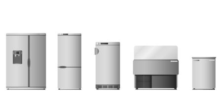 A set of different refrigerators. Design of freezers.