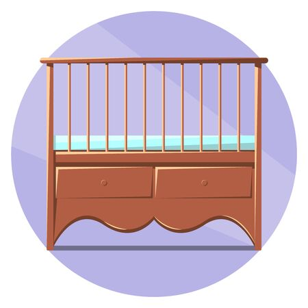 Vector image of baby crib. Design for marketing and websites. Stock Illustratie