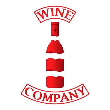 Vector logo design element on white background. Colorful wine bottle