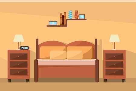 Vector design of bedroom interior furniture design