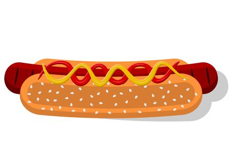 Hot Dog. Vector images of buns, sausages, ketchup and mustard. Illustration of a fast food.