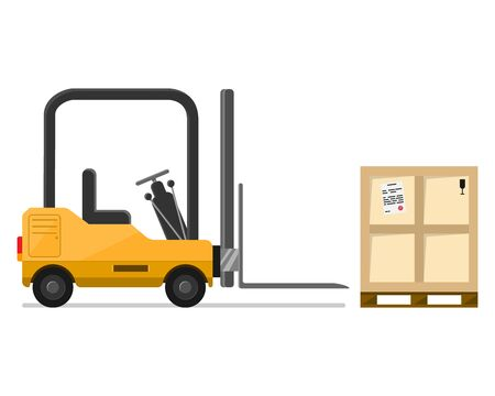 Forklift truck. A special small loader, new, square, yellow in metal, for lifting and transporting weights. Vector illustration, isolate.