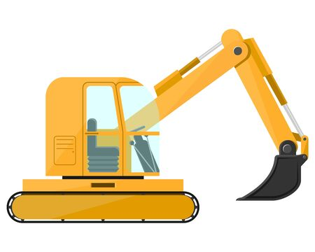 Excavator. Design of a cool large new construction equipment in yellow. Steel reliable mashira for land robot. Vector illustration.