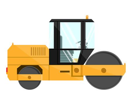 Road roller. Design of a cool large new construction equipment in yellow. Steel reliable mashira for land robot. Vector illustration.