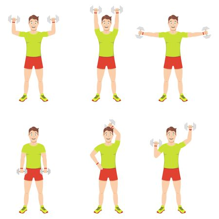 Exercises at home. Young handsome guy does exercises with dumbbells on different groups of arm muscles.