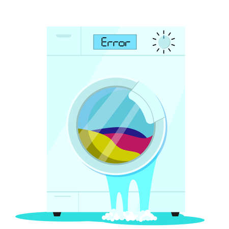 Broken washing machine. Unreliable defective household appliances. Crash in the program. Vector illustration for repair companies, websites and advertising.