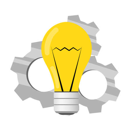 A light bulb with gears. The metaphor of the emergence of the idea of the image symbolizing the generation of ideas.