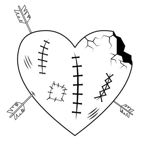 Valentines Day line. Lovely broken and crippled heart, large wound wounds and cracks, archery. Vektorgrafik