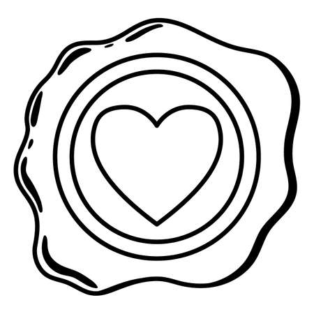 Wax seal line. A beautiful depiction of a heart embossed on wax for letters with a love message. Happy Valentines Day. Vector illustration for websites, reviews and prints.