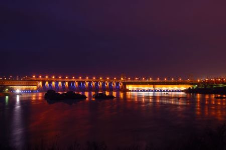 dniper: Hydroelectric dam in the night with colored lights, Zaporizhzhya, Ukraine Stock Photo