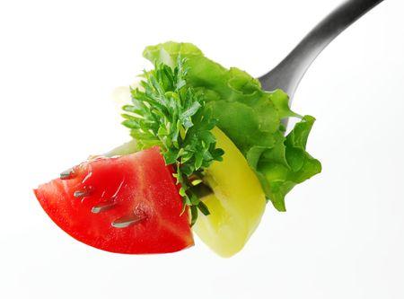 Salad on a fork