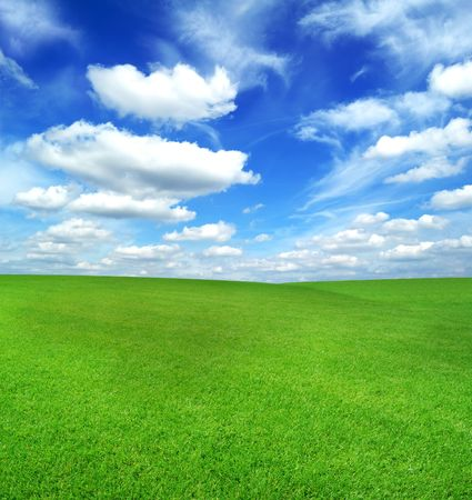 green field under the blue sky with white clouds