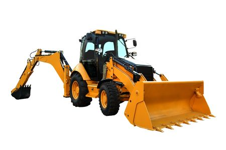 Yellow construction machine isolated on white