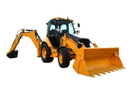 front loader: Amarillo construcci�n de m�quinas aisladas en blanco