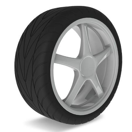 Wheel with aluminium rim over the white background Stock Photo - 4339550