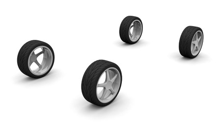 Four new car wheels isolated on the white background. Side view Stock Photo
