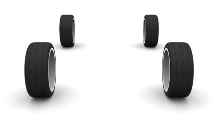 Four new car wheels isolated on the white background. Front view