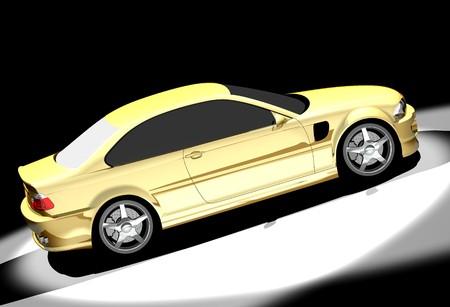 3D render of sport car.  Stock Photo