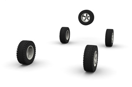 Five new off-road car wheels isolated on the white background. Side view Stock Photo - 4474661