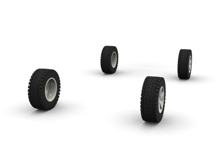 Four new off-road car wheels isolated on the white background. Side view Stock Photo - 4474658