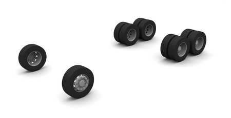 New Truck wheels isolated on the white background Stock Photo - 4549879