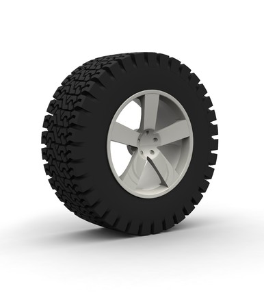 Off-road Wheel with aluminium rim over the white background Stock Photo - 4549881