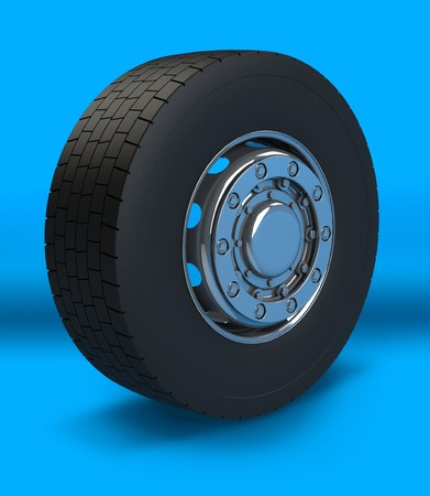 New Truck wheel on the blue background Stock Photo - 4549886