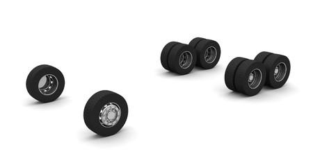 New Truck wheels isolated on the white background Stock Photo - 4549887