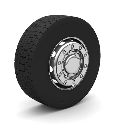 New Truck wheel on the blue background photo