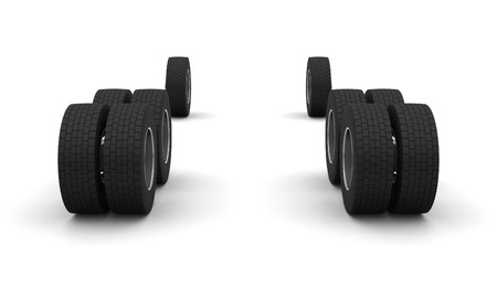 New Truck wheels isolated on the white background Stock Photo - 4549890