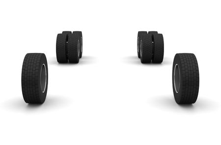New Truck wheels isolated on the white background Stock Photo - 4979734