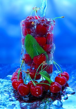 Glass full of cherries and water