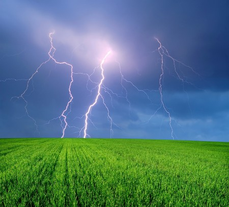 Thunderstorm with Lightning in Green Field
