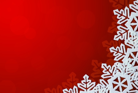 Red Background with Snowflakes in Border. Space for Text photo