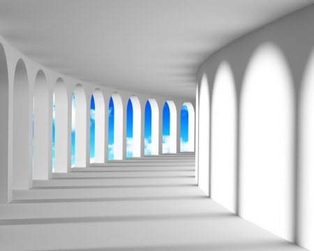 White abstract corridor with columns and blue sky photo
