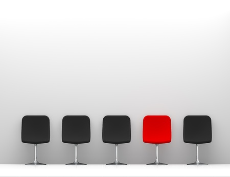 One Red Chair and Four Black Chairs in the White Interior  Copy Space on the Wall Stock Photo