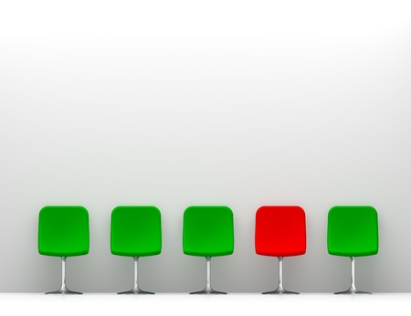 One Red Chair and Four Green Chairs in the White Interior  Copy Space on the Wall photo