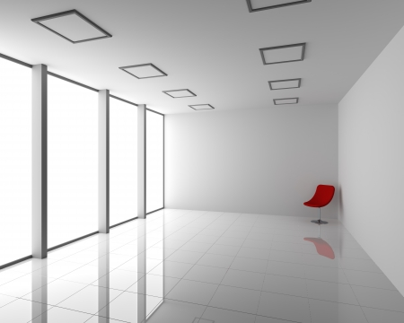 Empty Modern White Interior with Red Chair Stock Photo