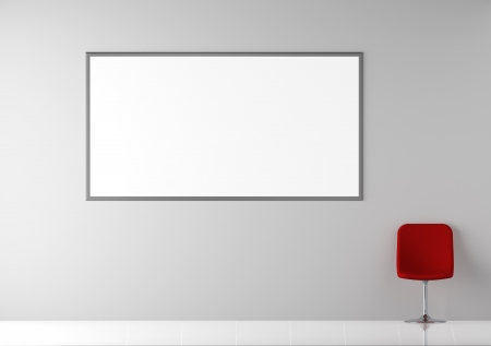 Modern Red Chair in White Empty Interior with Billboard on the Wall